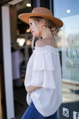Off-the-Shoulder Blouse in White Side View