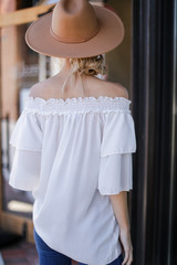 Off-the-Shoulder Blouse in White Back View