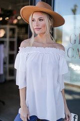Off-the-Shoulder Blouse in White Front View