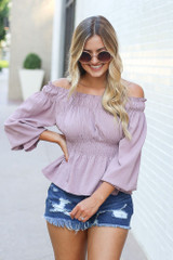 Mauve - Smocked Off-the-Shoulder Blouse