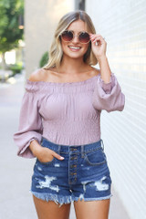 Mauve - Smocked Off-the-Shoulder Blouse from Dress Up