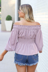 Smocked Off-the-Shoulder Blouse Back View