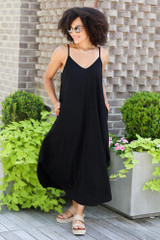 V-Neck Maxi Dress in Black Front View
