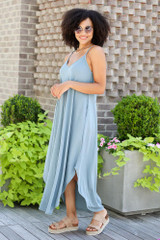 V-Neck Maxi Dress in Blue Side View