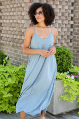 V-Neck Maxi Dress in Blue Front View