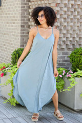 Dress Up model wearing the V-Neck Maxi Dress in Blue with platform espadrilles