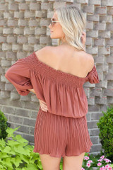 Smocked Pleated Romper Back View