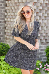 Smocked Floral Dress in Black Front View