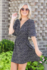 Smocked Floral Dress in Black Side View