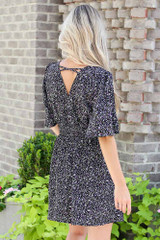 Smocked Floral Dress in Black Back View