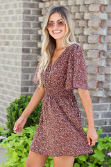 Smocked Floral Dress in Mocha Side View