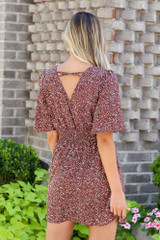 Smocked Floral Dress in Mocha Back View
