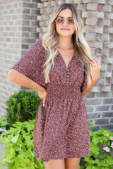 Smocked Floral Dress in Mocha Front View