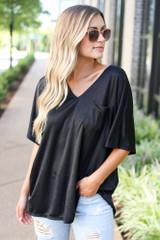 Black - Oversized Satin Top from Dress Up