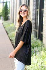 Oversized Satin Top in Black Side View
