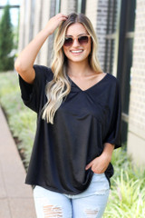 Oversized Satin Top in Black Front View
