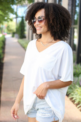 Oversized Satin Top in White Side View