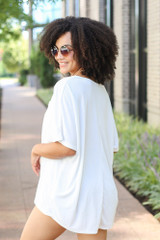 Oversized Satin Top in White Back View