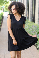 Black - Tiered Babydoll Dress