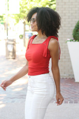Smocked Tie-Strap Tank in Red Side View