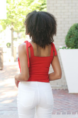 Smocked Tie-Strap Tank in Red Back View
