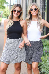 Black - Spotted Wrap Skirt