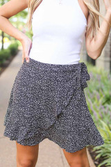 Black - Close Up of the Spotted Wrap Skirt