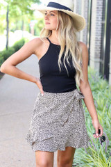 Taupe - Model wearing the Spotted Wrap Skirt