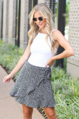 Spotted Wrap Skirt in Black Front View