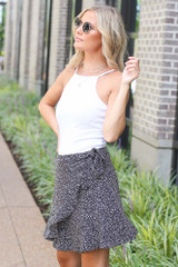 Spotted Wrap Skirt in Black Side View