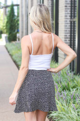 Spotted Wrap Skirt in Black Back View