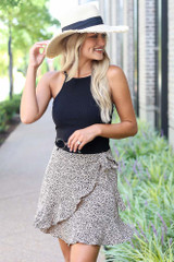 Spotted Wrap Skirt in Taupe Front View