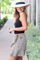 Spotted Wrap Skirt in Taupe Side View