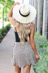 Spotted Wrap Skirt in Taupe Back View