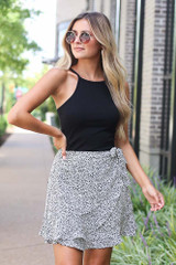Spotted Wrap Skirt in White Front View