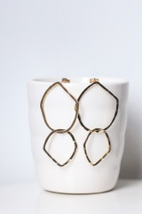 Gold - Hammered Drop Earrings from Dress Up