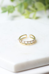 Gold - Rhinestone Double Ring