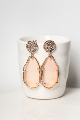 Pink - Close Up of the Gold Statement Earrings