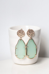 Mint - Front View of the Gold Statement Earrings