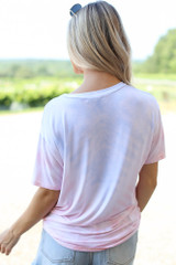Ultra Soft Tie-Dye Tee in Pink Back View
