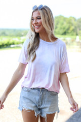 Ultra Soft Tie-Dye Tee in Pink Front View