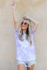 Ultra Soft Tie-Dye Tee in Lavender Front View