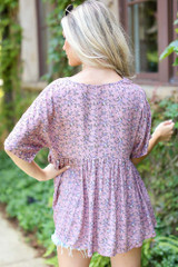 Floral Babydoll Top in Mauve Back View