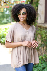 Taupe - Textured Babydoll Top