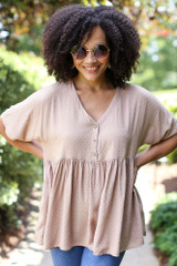 Taupe - Textured Babydoll Top from Dress Up