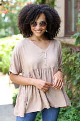 Model wearing the Textured Babydoll Top