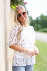 White - Mesh Floral Babydoll Top from Dress Up