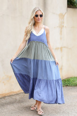 Denim - Tiered Color Block Maxi Dress from Dress Up