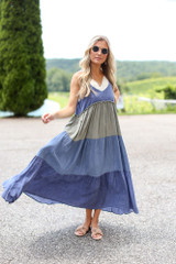 Model wearing the Tiered Color Block Maxi Dress