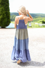 Tiered Color Block Maxi Dress Back View